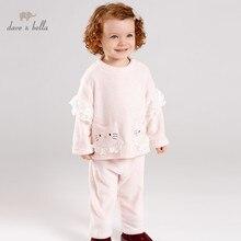 DB12186 dave bella/пижамный комплект для детей, осенняя домашняя одежда для маленьких девочек розовый костюм для сна с длинными рукавами для малышей