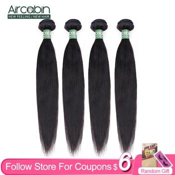 Mechones de cabello lacio Aircabin de 8 a 30 pulgadas, extensiones de cabello humano Remy 100% brasileño de 32 pulgadas, tejido de cabello Natural de 1/3/4 piezas