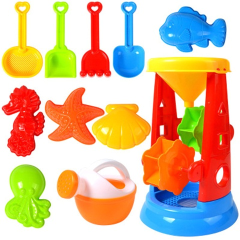 Summer Beach Sand Toy Blocks For Kids Baby Beach Game Toy Sandbox Set Kit Summer Toys For Beach Play Sand Water Game Play Cart