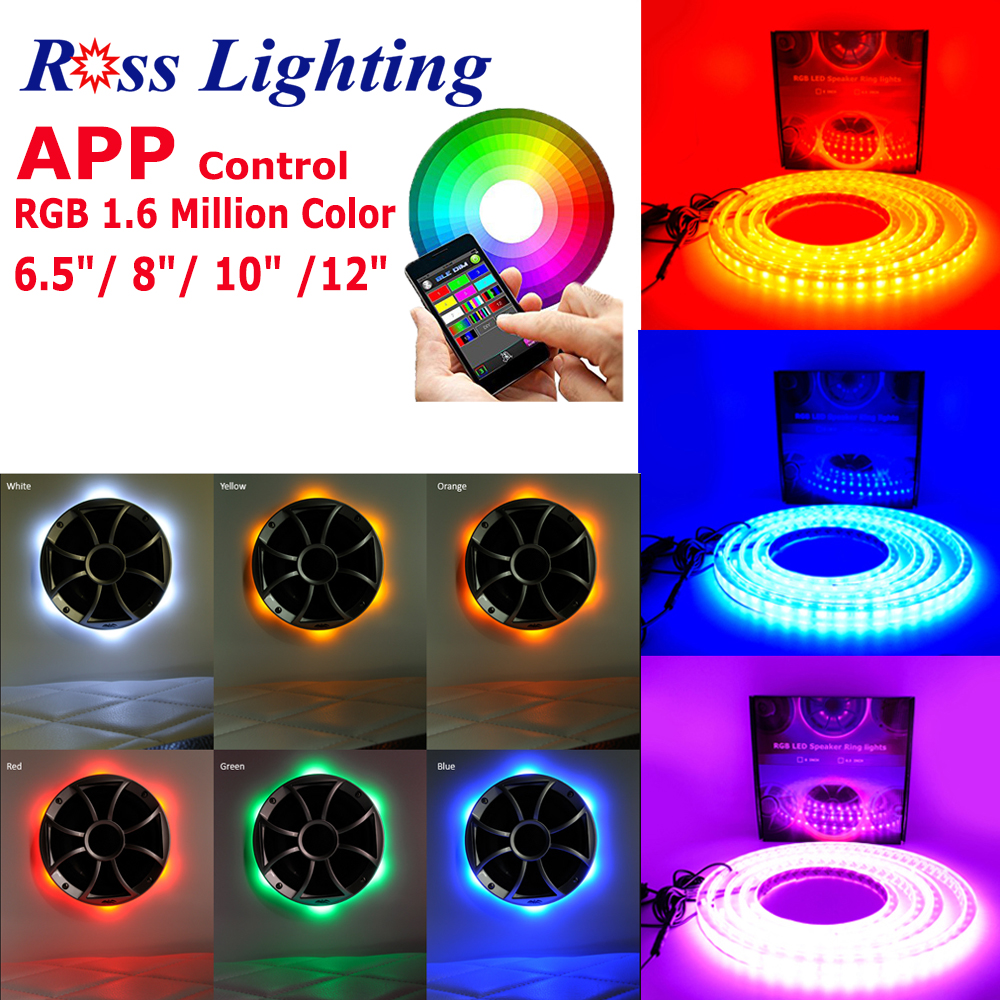 9pcs/Lot Universal Spacer Acrylic APP Control RGB Multicolor LED Speaker  Rings Audio Marine with Remote Wiring for Auto Sounds