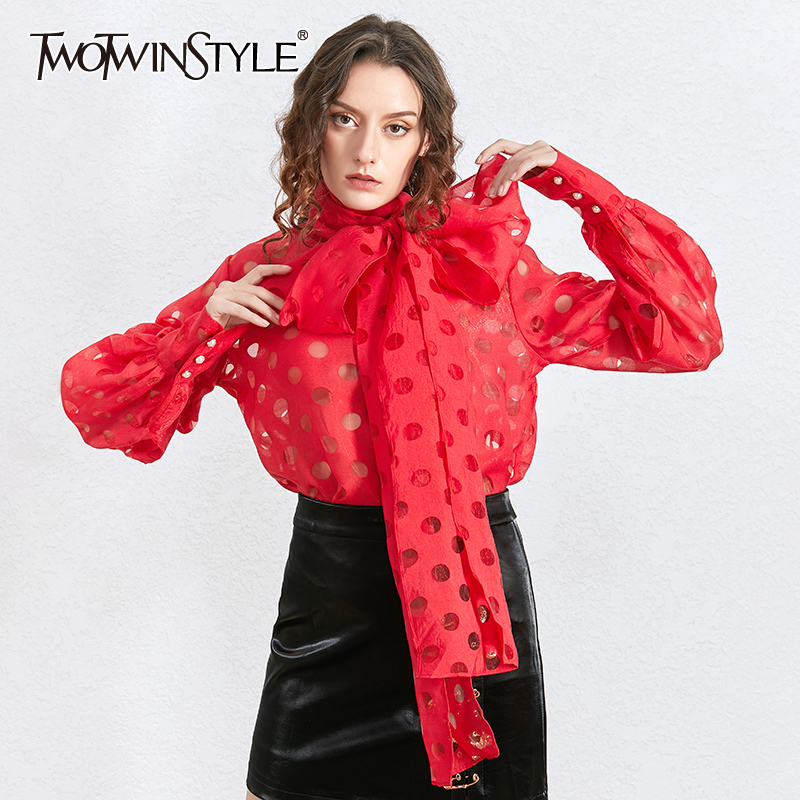 TWOTWINSTYLE Elegant Polka Dot Bowknot Women's Shirt Lantern Long Sleeve Casual Shirts Blouse Female 2020 Autumn Fashion New