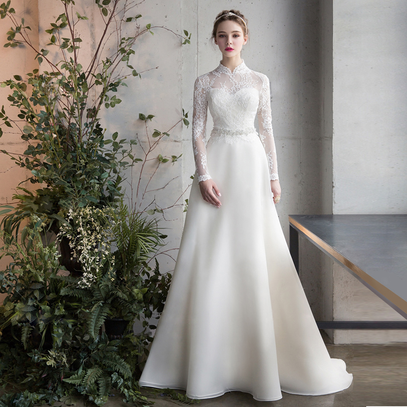 Elegant Lace White Wedding Dresses 2020 Long High Neck A  Line Beads Full Sleeve Korea Bride Dresses Wedding Gowns