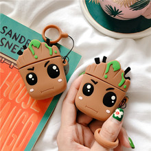 3D Cute Cartoon Marvel Groot Trees Baby Headphone Cases For Apple Airpods 1/2 Lovely Silicone Earphone Protective Sleeve Cover