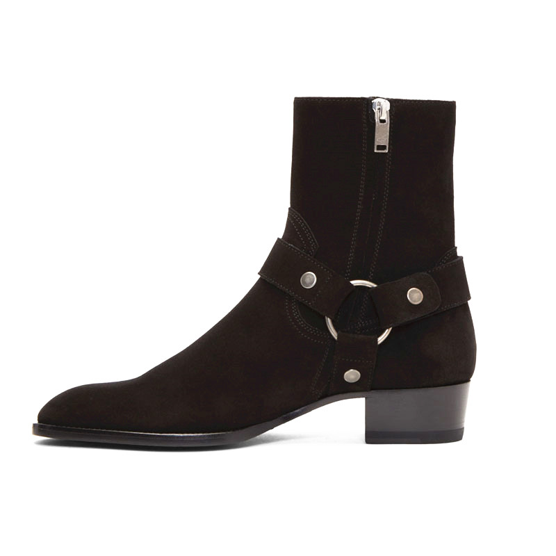 Estilo alto hecho a mano con hebilla de correa de anillo Unisex botas de Chelsea de cuero de cuña de mezclilla botas de arnés de banquete - 4