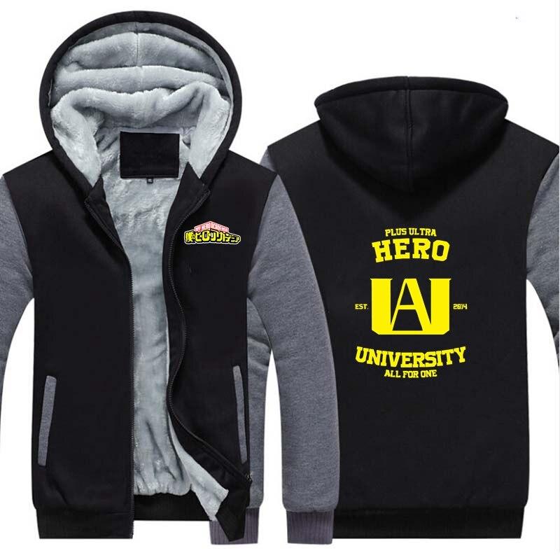New Anime My Hero Academia Thicken Hoodie Sweatshirts Cosplay Costume Winter Warm Coat Hooded Unisex Gamers Clothing Gift