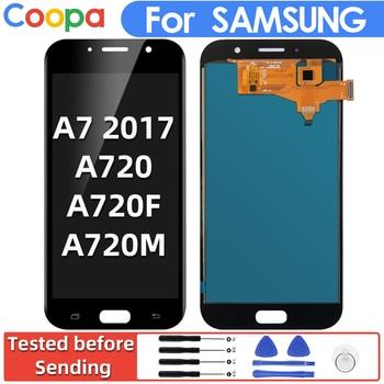 5.7 polegada lcd para samsung galaxy a7 2017 a720f a720m SM-A720F display lcd tela de toque digitador assembléia substituição