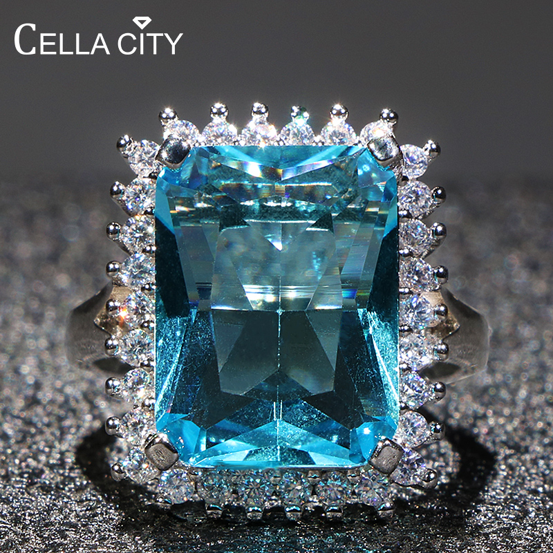 Cellacity Aquamarine Ring For Women Silver 925 Jewelry For Party Hyperbole Huge Rectangle Gemstones Size6,7,8,9,10 Party Gift