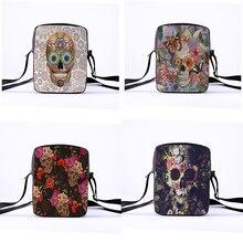 2020 패션 메신저 가방 여성을위한 펑크 스타일 숄더 가방 여성 크로스 바디 가방 인쇄 해골 23x17x5cm