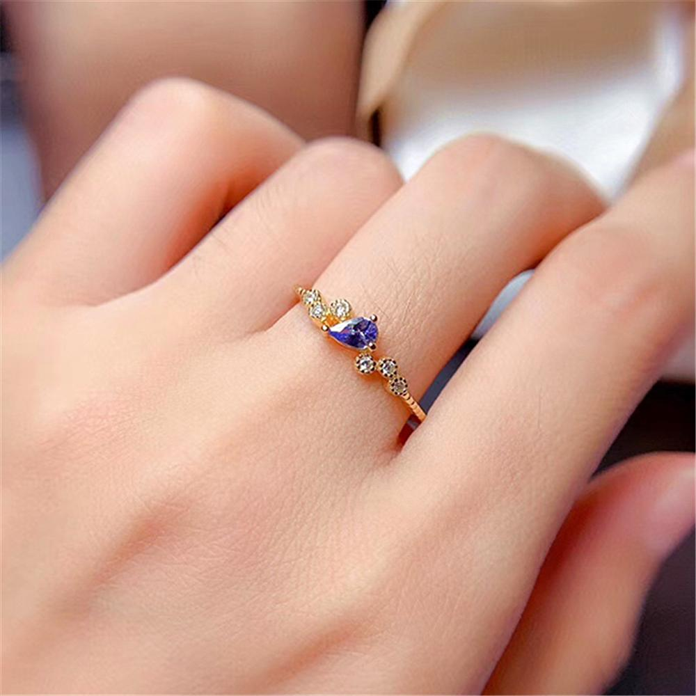 Natural Tanzanite Ring, S925 Silver Gold Ring, Ladies Simple Natural Gemstone Jewelry