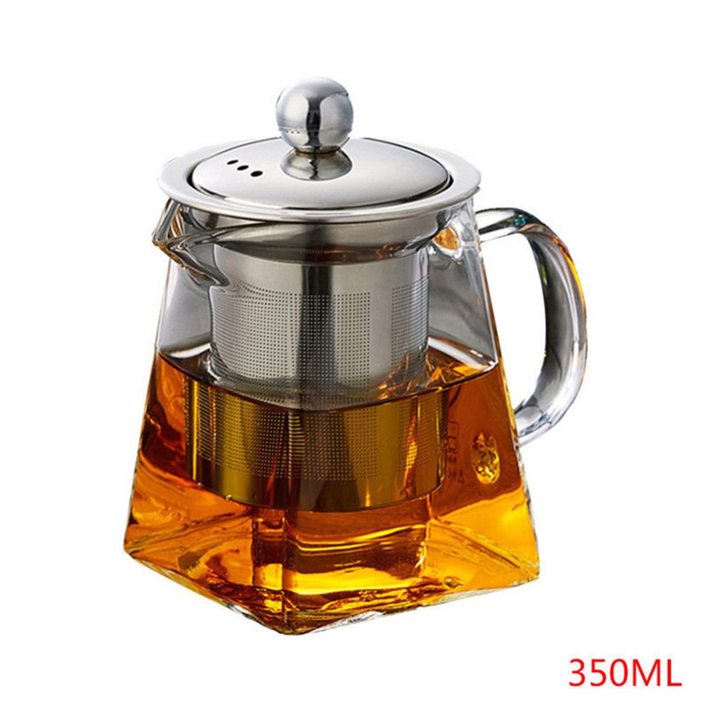 Heat Resistant Glass Stainless Steel Filter Teapot Square Flower Teapot High Temperature Glass Tea Set|Teapots| |  - title=
