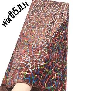 Image 5 - Ultime Africano Tessuto di Pizzo di Maglia Con Paillettes Francese Tulle Tessuto di Pizzo blu Royal Merletto Del Velluto Per Il Nigeriano Partito di Sera