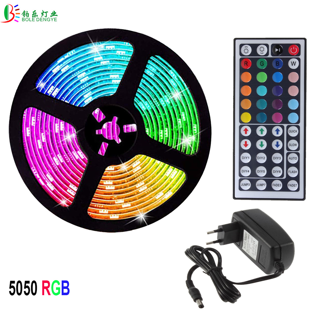 12V LED Strip Light RGB 5050 2835 Flexible Ribbon RGB LED Strips Waterproof 5M 10M 15M 5M/Roll Diode Tape Remote Control Adapter