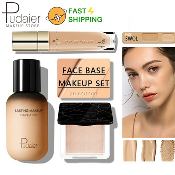 Pudaier Face Foundation Makeup Set Liquid Foundation Cream Matte Foundation Base Face ALL Concealer Cosmetic Professional base bright color special professional 15 color concealer facial face cream care camouflage makeup base palettes cosmetic