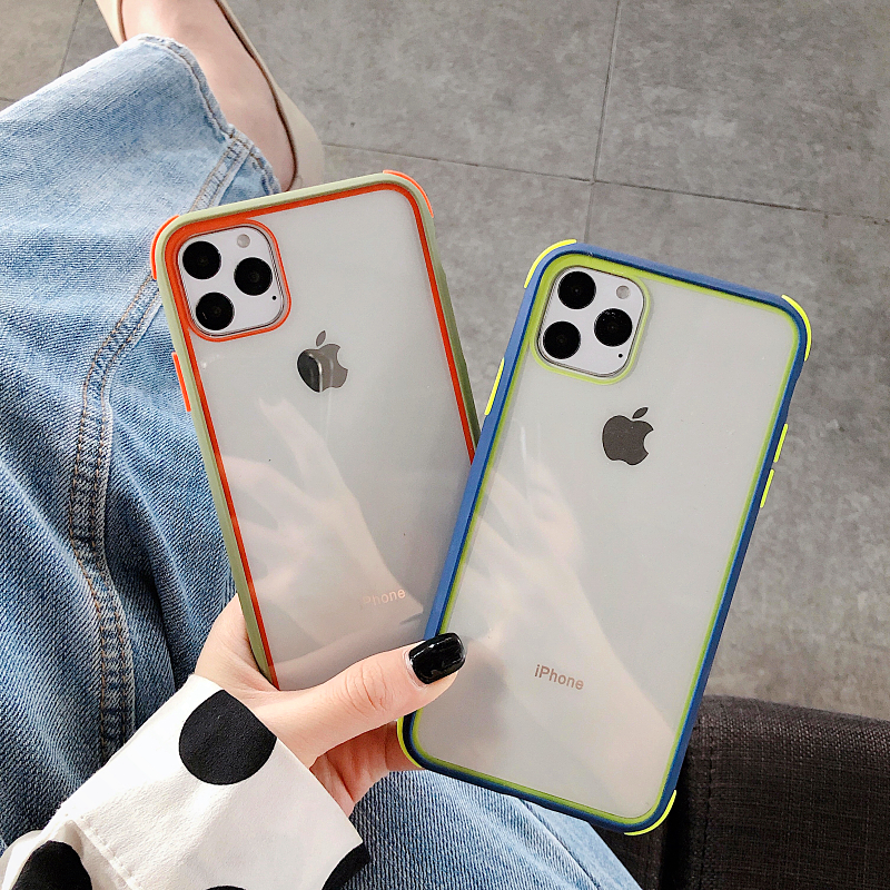 Colorful <font><b>Bumper</b></font> Transparent Silicone Shockproof Phone <font><b>Case</b></font> For <font><b>iPhone</b></font> 11 X XS XR XS Max 8 7 Plus Clear protection Back Cover image