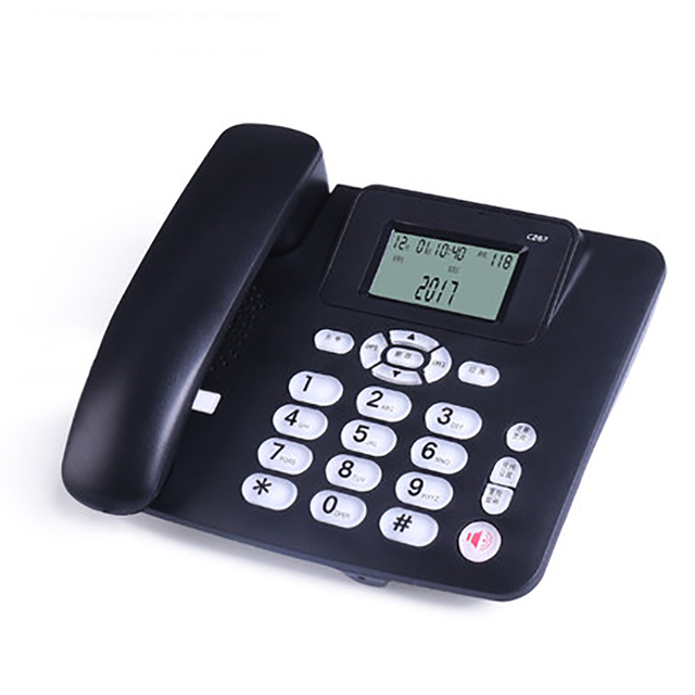Wired Landline Phone with Speaker, R Key, Button Light, Adjustable Font Brightness, Dual Port Corded Telephone for Home Office