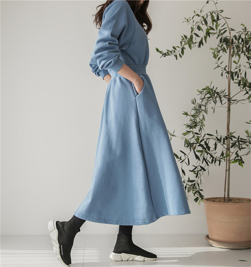 2019 Autumn And Winter New Style Crew Neck Thread Waist Hugging Hoodie Dress Brushed And Thick Long Big Skirt Long Sleeve
