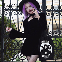 Fitshinling Cut Out Pentagram Velvet Dress Goth Dark Autumn Winter Flare Sleeve Dresses Women Turtleneck Black Slim Vestidos New