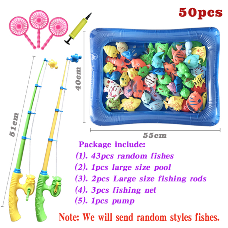 Parent-child Interactive Children Magnetic Fishing Toys Water Pool Rod Net Set Kids Child Model Play Fishing Games Outdoor Toy