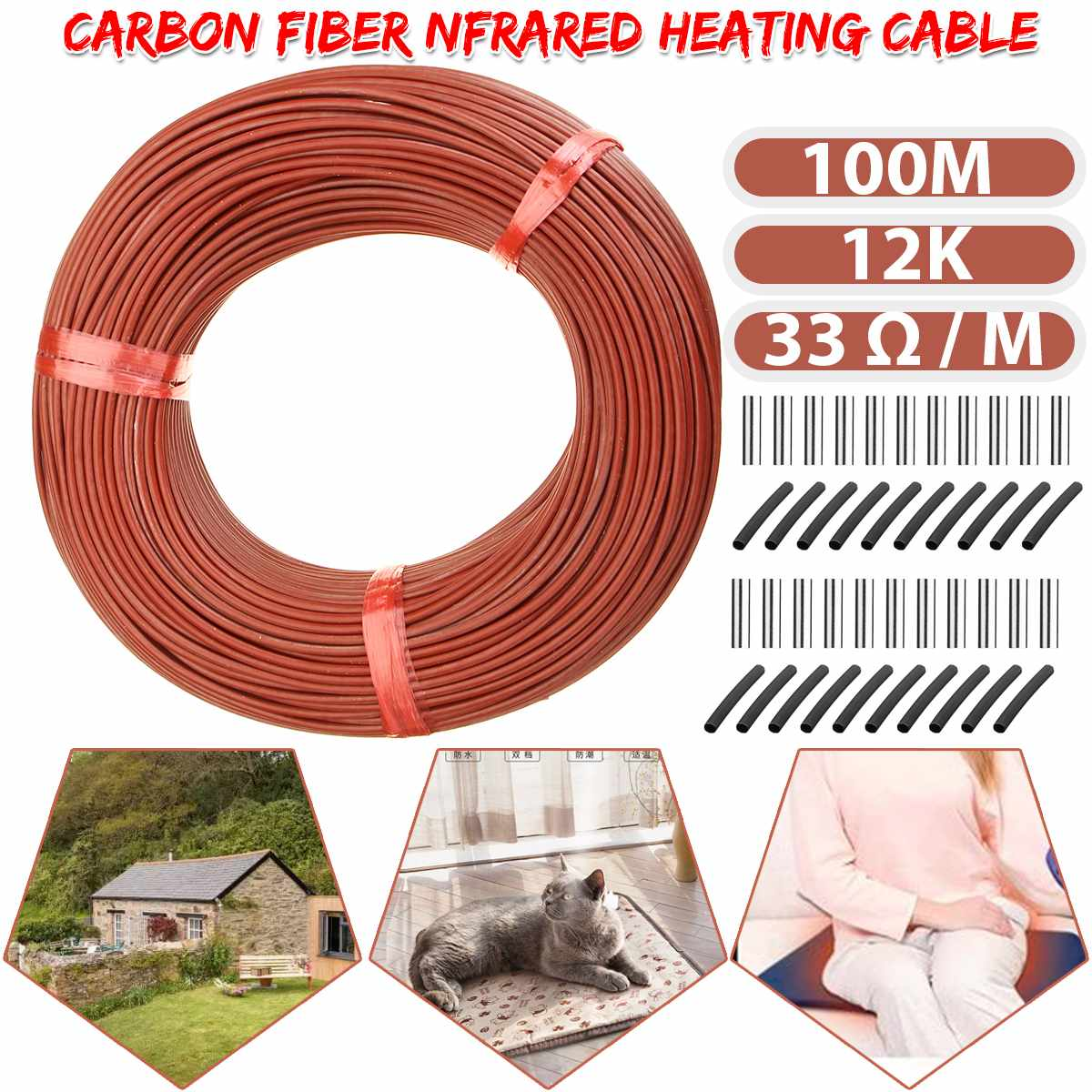 100m Infrare Carbon Fiber Heating Cable/Wire Warming Floor Home Improvement Greenhouse Vegetables Farm Heating Safe Insulated
