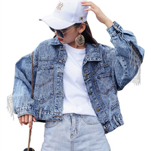 Back Tassel Jeans Jacket Women Autumn Winter Long Sleeve Blue Denim Jackets Coats Loose Harajuku style Pockets Button Jacket