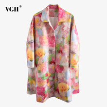 VGH Vintage Print Women Trench Coat Lapel Collar Long Sleeve Loose Hit Color Win