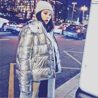 winter new fashion women Korean thicker warm down jacket female silver color down coat female Hooded coat