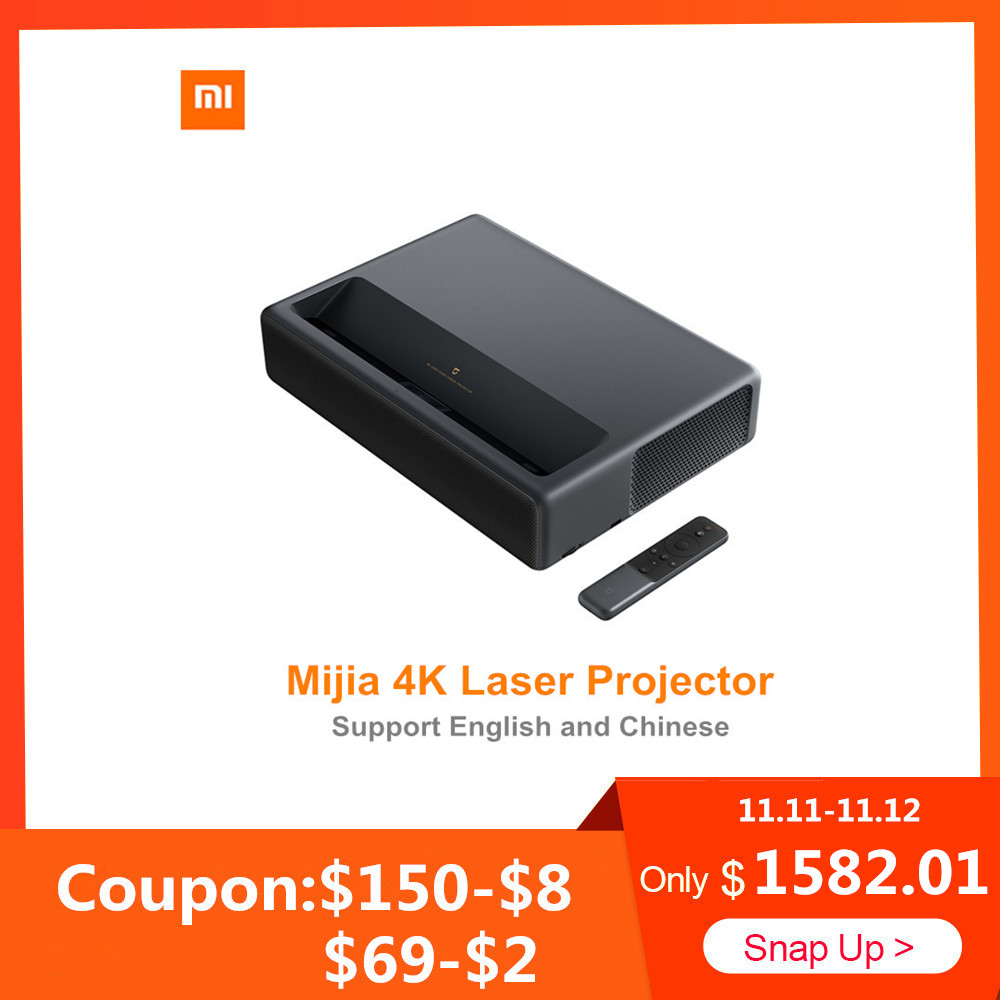 Xiaomi Mijia 4K Laser Projector Home Theater Projection TV Full HD 4K 1500ANSI Android 6.0 5000 Lumens 2G RAM 16G 3D Projector
