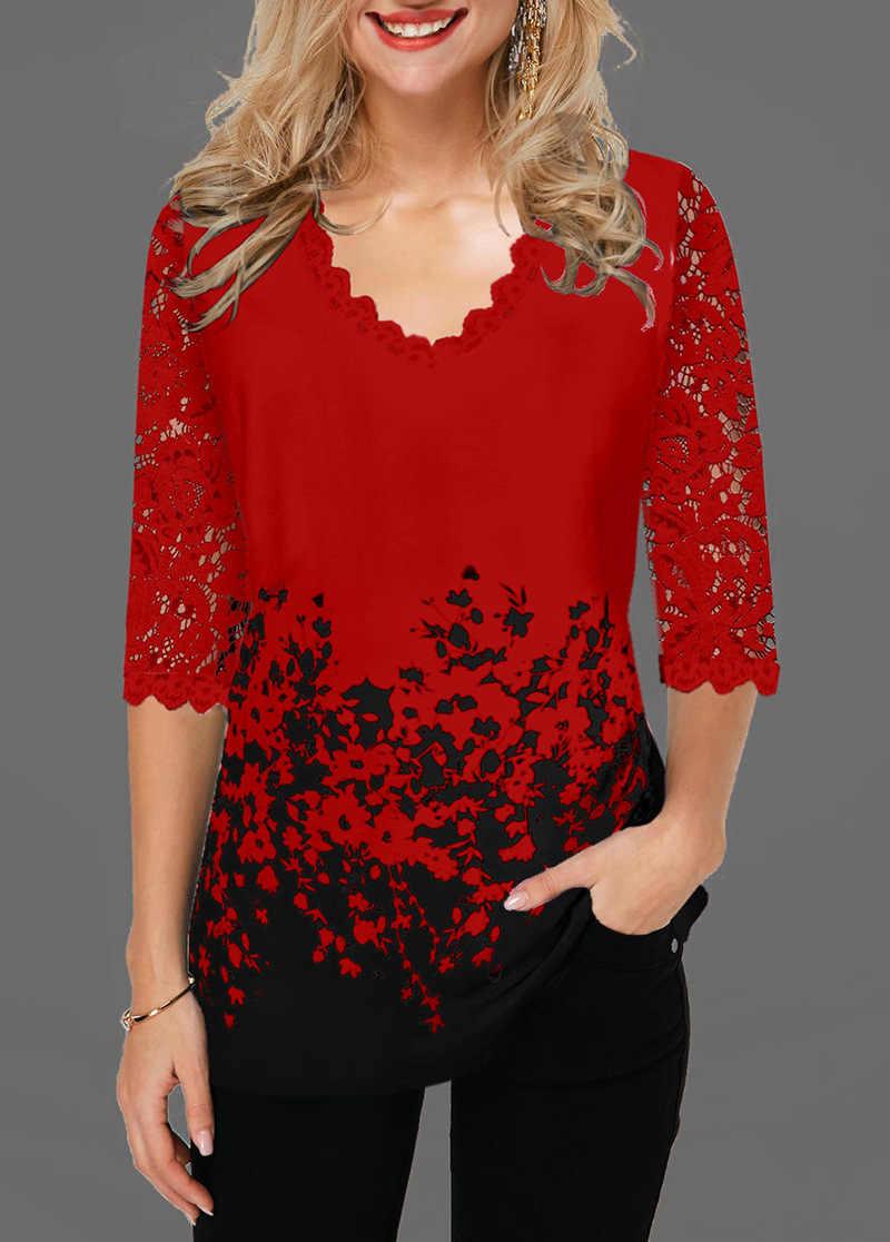 Camiseta con cuello en V y Media manga para mujer, tops de talla grande 2020, jersey con estampado Floral y encaje calado, camiseta informal femenina