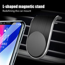 L-tipo magnético suporte do carro para o telefone para o iphone samsung apertado no carro ar ventilação telefone titular magnético para gps chamada resposta