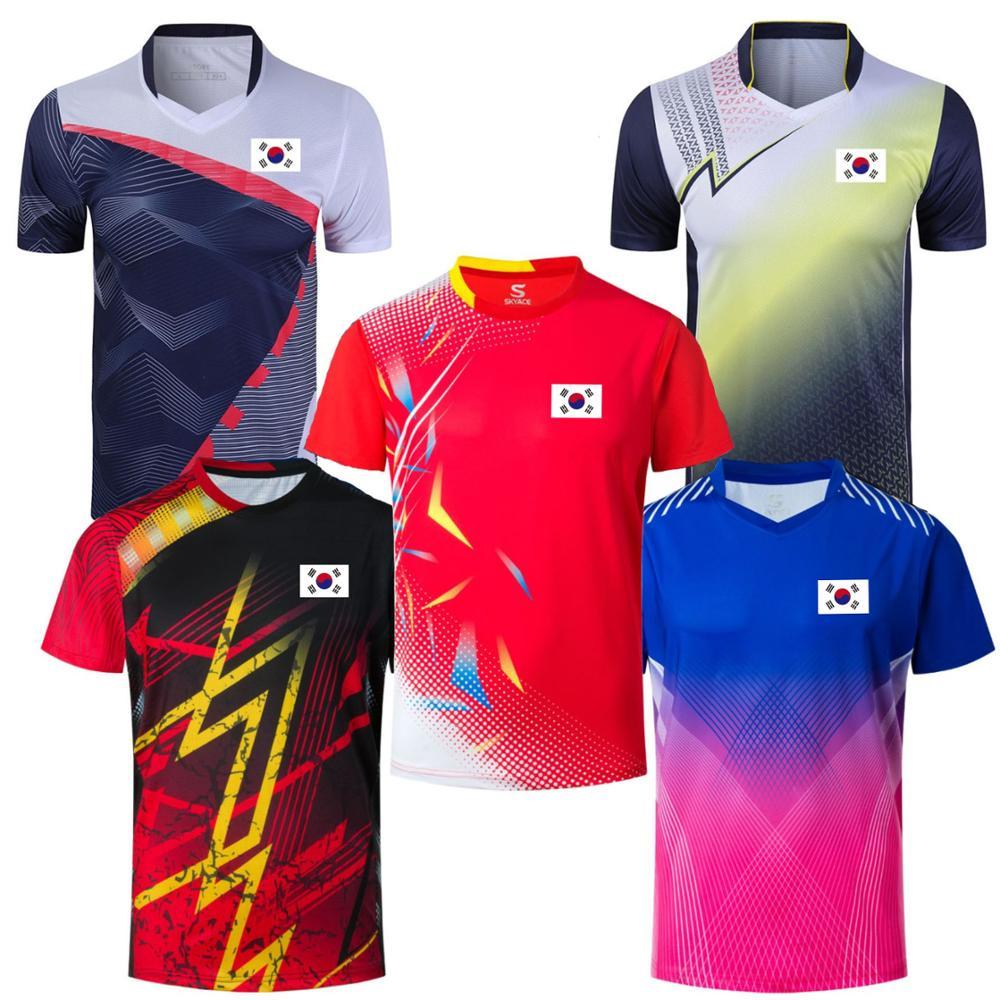 T-shirt de Tennis drapeau coréen pour hommes et femmes, chemise de Badminton à séchage rapide, Kits de Sport, maillots de tennis de Table pour filles, hauts athlétiques d'équipe