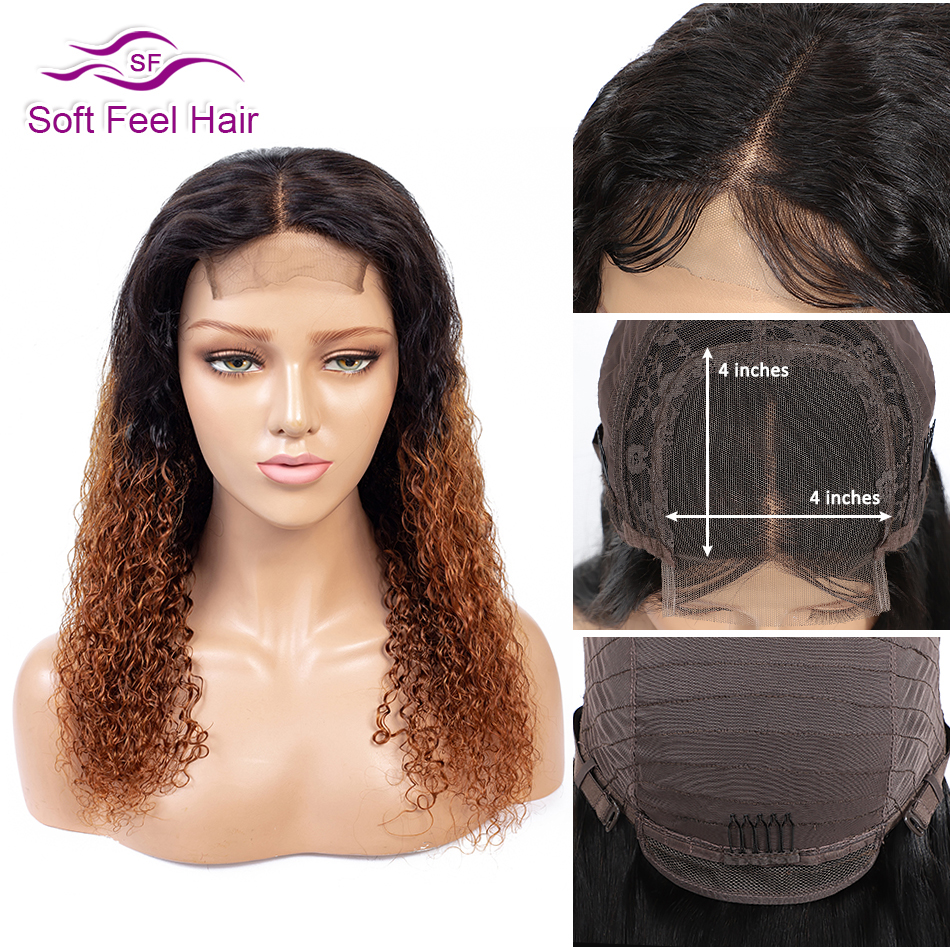 Soft Feel Hair 4x4 Lace Closure Human Hair Wigs Ombre Lace Closure Wigs For Black Women T1B/30 Remy Brazilian Kinky Curly Wig