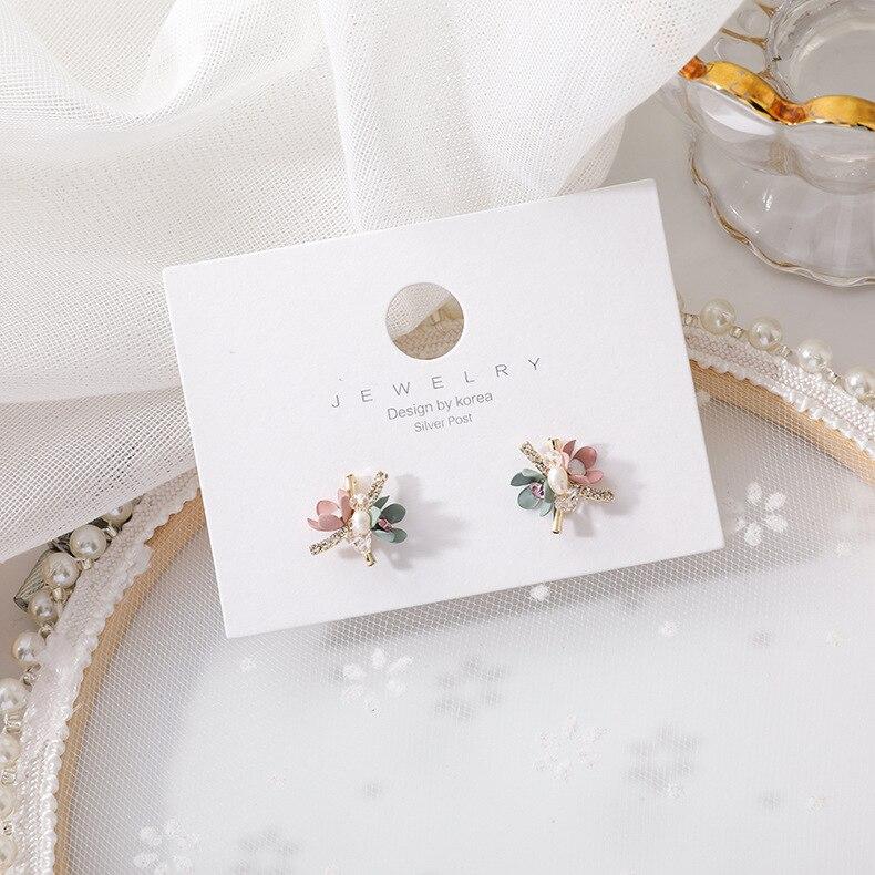 2020 New Korean Trendy Handmade Colorful Sweet Flowers Stud Earrings For Women Shiny Jewelry Fashion Oorbellen Gifts