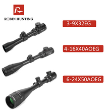 Robin Hunting 3-9x32 Rifle Scopes 4-16x40 Optics RifleScope 6-24x50 Tactical Red Green Illuminated Optics Sight Airsoft Air Gun air telescopic gunsight riflescope tri 1 4x24 e rail red green illuminated tactical optics hunting shooting rifle scope