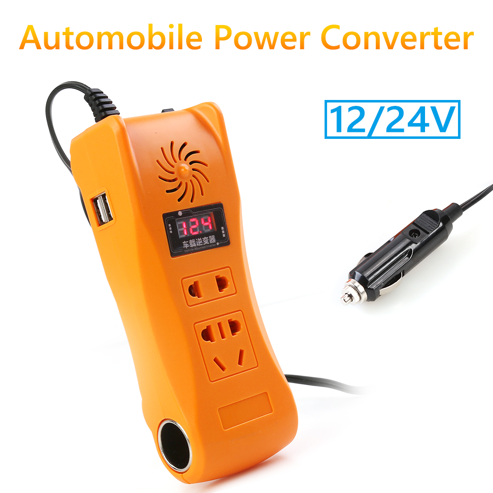 <font><b>200W</b></font> Power <font><b>Inverter</b></font> Digital Display with Sufficient Durability and Ruggedness DC 12V 24V to AC 220V MSW Car Truck <font><b>Inverter</b></font> image
