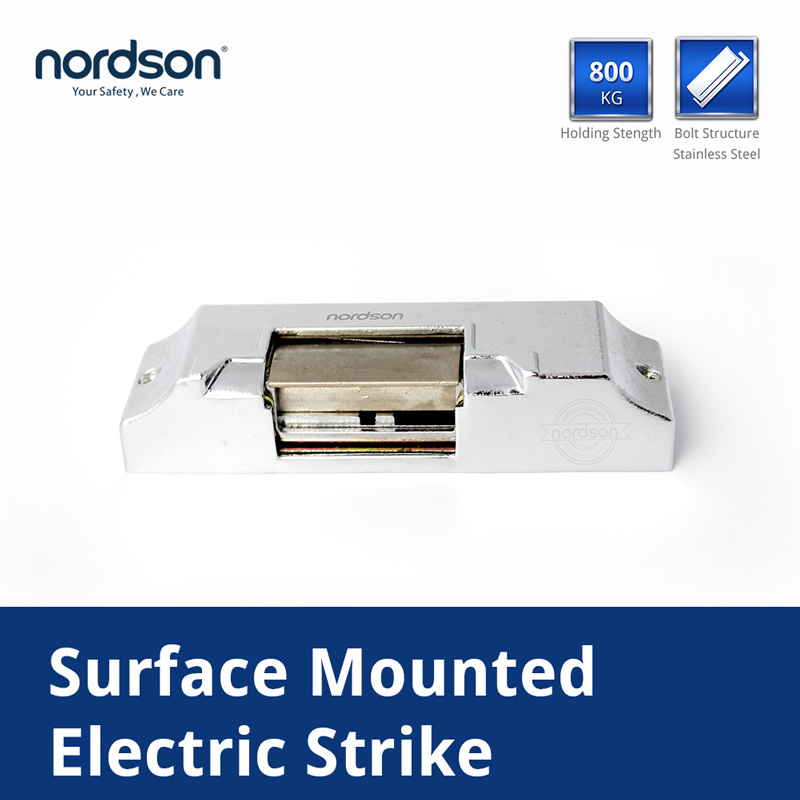 Nordson Original DC12V Fail-secure/Fail-Safe Type Stainless Steel Surface Mounted Electric Strike Door Lock Holding Force 800KG