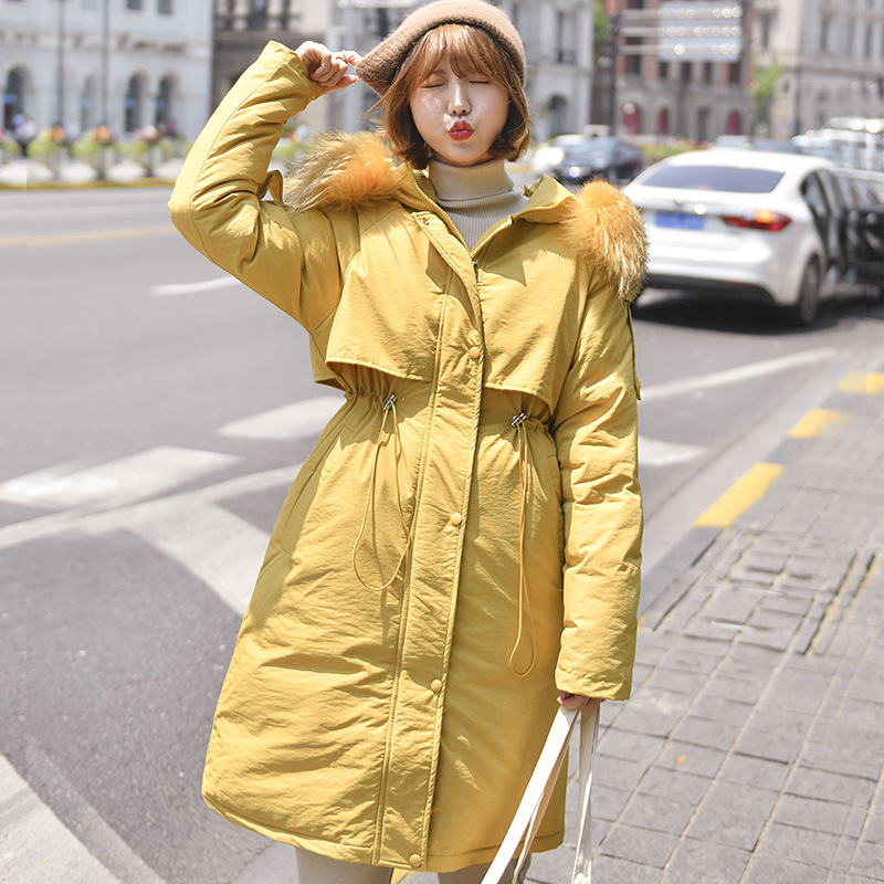 Women Winter Jacket Cotton Padded Jacket X-Long 2019 New Fashion Warm Thicken Ladies Coat With Fur Collar   Parka   Womens Jackets