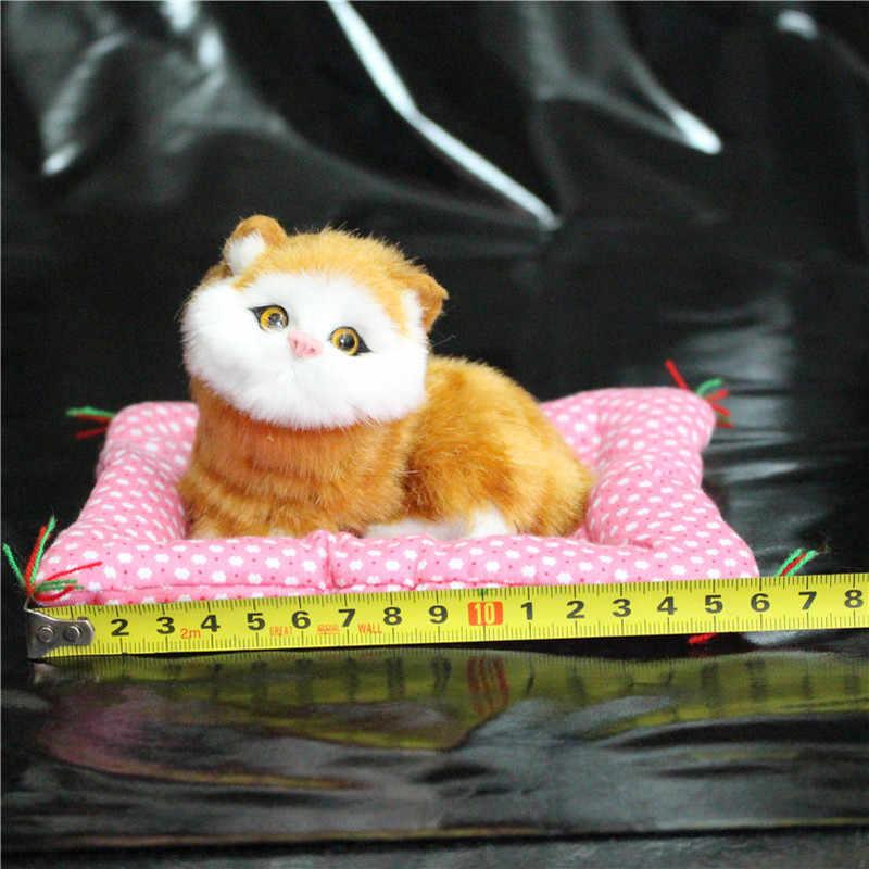1 pc 슈퍼 kawaii 시뮬레이션 고양이 플러시 장난감 보도 울리는 고양이 앉아 장난감 새끼 고양이 인형 생일 선물 홈 인테리어