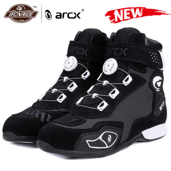 ARCX-Botas de motociclismo de cuero de vaca genuino, botines de carreras para motociclismo callejero, Chopper Cruiser, Touring Biker