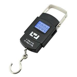 Image 1 - 50kg/110lb dijital elektronik bagaj ölçeği taşınabilir bavul ölçeği streç kolu seyahat çantası ağırlık kanca asılı,