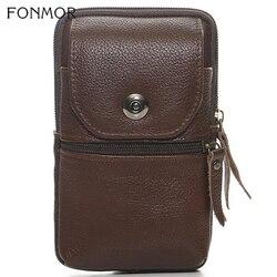 Homens de couro genuíno pacote cintura saco mini celular/telefone móvel bolsos caso moeda bolsa masculina fanny dinheiro shouder crossbody sacos novo