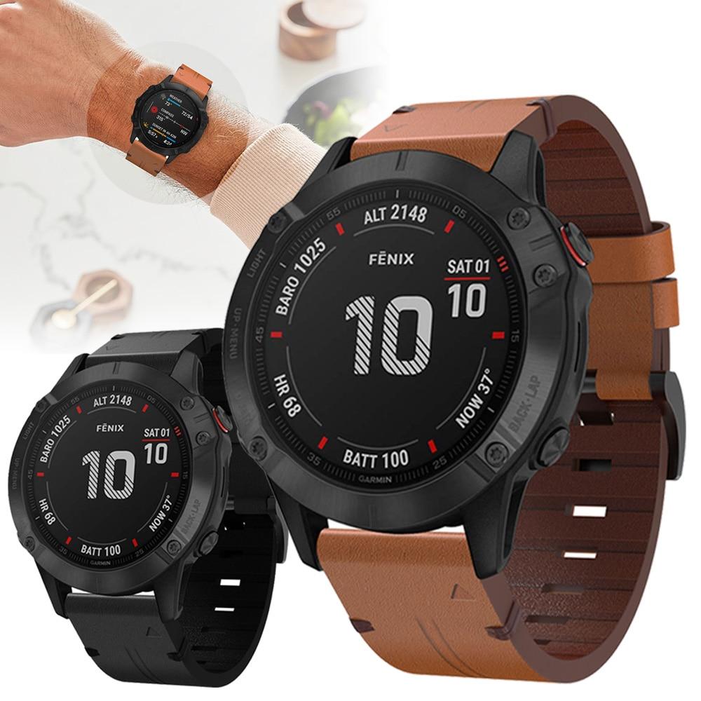 For Garmin Fenix 6X / 6X Pro / 5X Plus Smart Watch Genuine Leather Strap Replacement Watchbands Bracelet Belt 26mm Watch Band