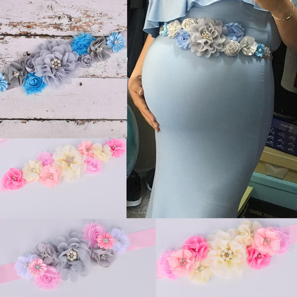 New Arrival Floral Maternity Sash Pregnancy Belly Belt Photo Props Gift Baby Shower Party 4 Color Options