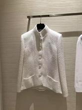 Wysokiej klasy projektant mody kobiet kurtka 2019 nowa wiosna pełna rękaw żakardowy jedwab podszewka elegancki płaszcz z łańcucha