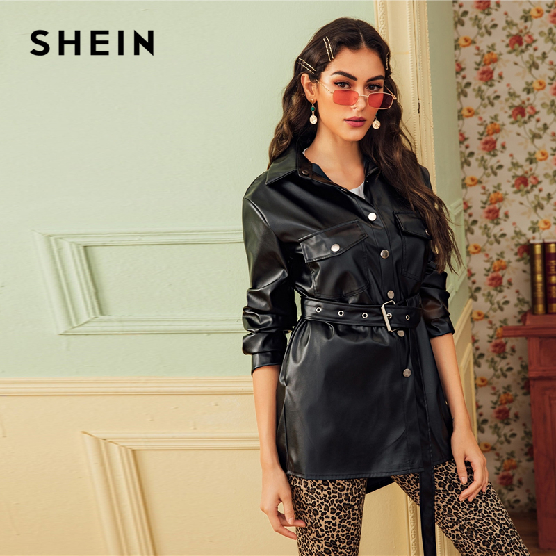 SHEIN Black Dual Pocket Button Front Belted Casual PU Coat Women 2019 Autumn Streetwear Faux Leather Long Sleeve Outwear Coats 1