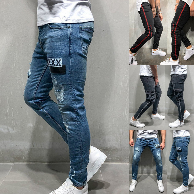 OLOME Men Denim Jeans Fashion Badge Worn Patchwork Skinny Pants Slim Fit Zipper Destroyed Gothic Style Ripped Jeans Pencil Pants