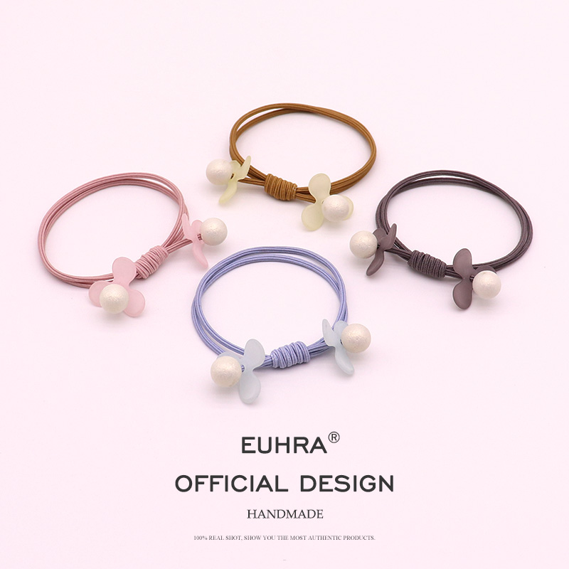 EUHRA 4 Colors Pearl Petals Floral Handmade Elastic Hair Bands For Women Girls Hair Band Kid Children Rubber Band