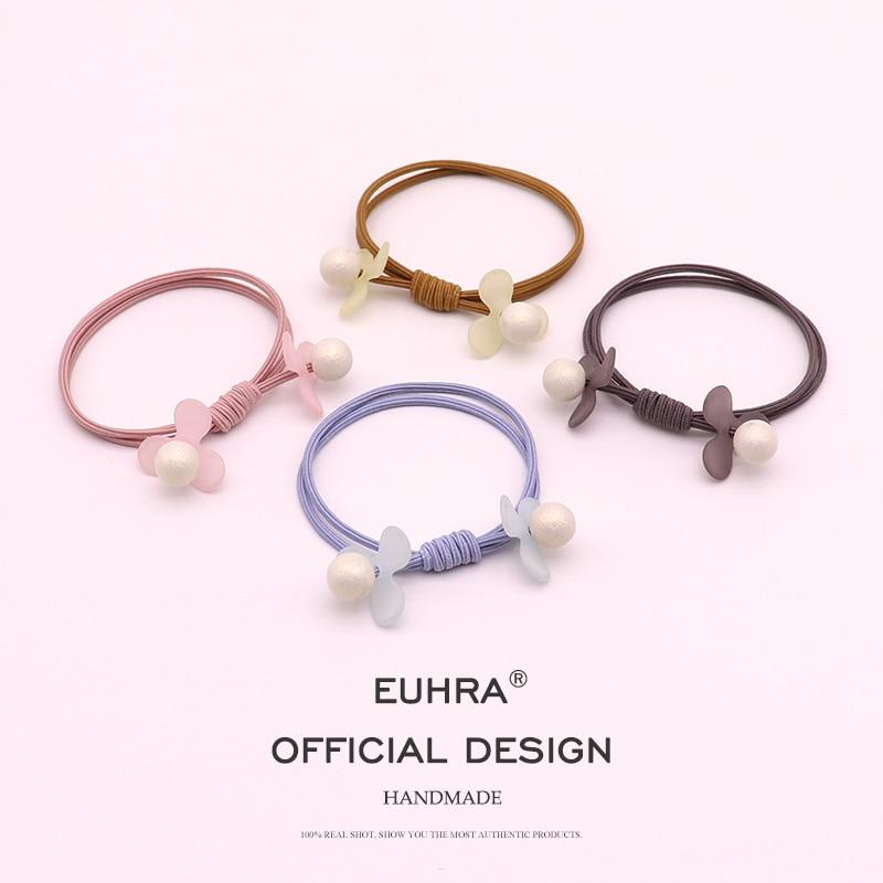 EUHRA 4 Colors Pearl Petals Floral Handmade Elastic Hair Bands For Women Girls Hair Band Kid Children Rubber Band