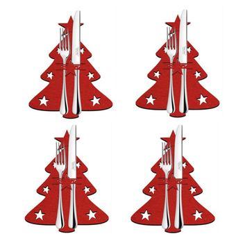 4 Uds. Bolsa de cuchillos para árbol de Navidad, organizador exquisito y exclusivo de cubiertos para Año nuevo, decoración festiva de Mesa para el hogar