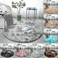 Круглые коврики серого цвета  крашеные плюшевые мягкие ковры для спальни  водопоглощающие ковры для гостиной  спальни