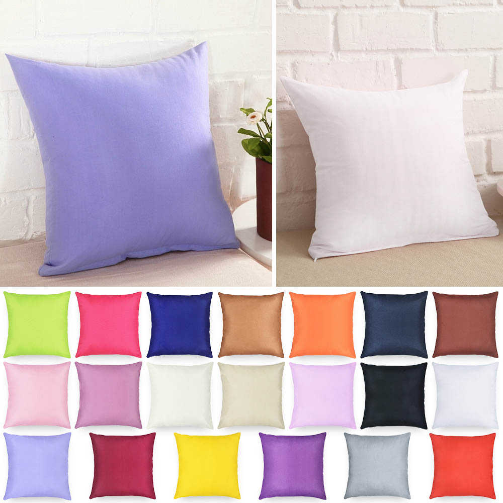 Pillow-Case Decorative 40x40cm Living-Room Solid-Color Polyester Throw 1pc